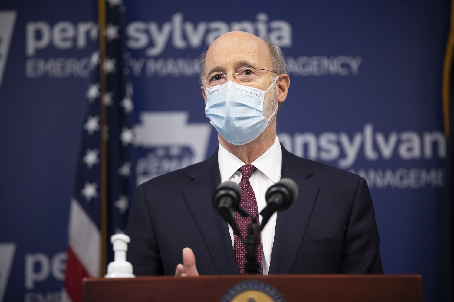 "<a href=""https://filesource.wostreaming.net/commonwealthofpa/photo/18477_gov_covidUpdate_dz_05.jpg"" target=""_blank"">⇣ Download Photo<br></a>Pennsylvania Governor Tom Wolf answers questions from the press.  An orderly, planned distribution of the COVID-19 vaccine is a priority of the Wolf Administration and today, Governor Tom Wolf and Department of Health Secretary Dr. Rachel Levine shared an update on the vaccine, stressing its safety and efficacy. Harrisburg, PA  January 12, 2021"