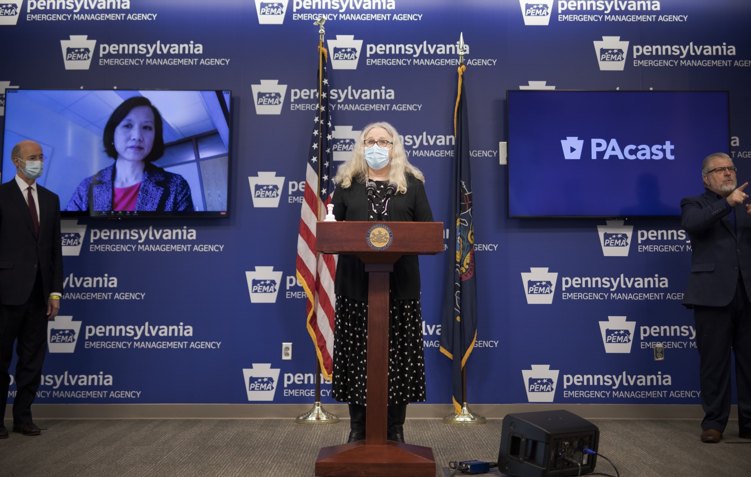 "<a href=""https://filesource.wostreaming.net/commonwealthofpa/photo/18477_gov_covidUpdate_dz_06.jpg"" target=""_blank"">⇣ Download Photo<br></a>Pennsylvania Secretary of Health Dr. Rachel Levine answers questions from the press.  An orderly, planned distribution of the COVID-19 vaccine is a priority of the Wolf Administration and today, Governor Tom Wolf and Department of Health Secretary Dr. Rachel Levine shared an update on the vaccine, stressing its safety and efficacy. Harrisburg, PA  January 12, 2021"