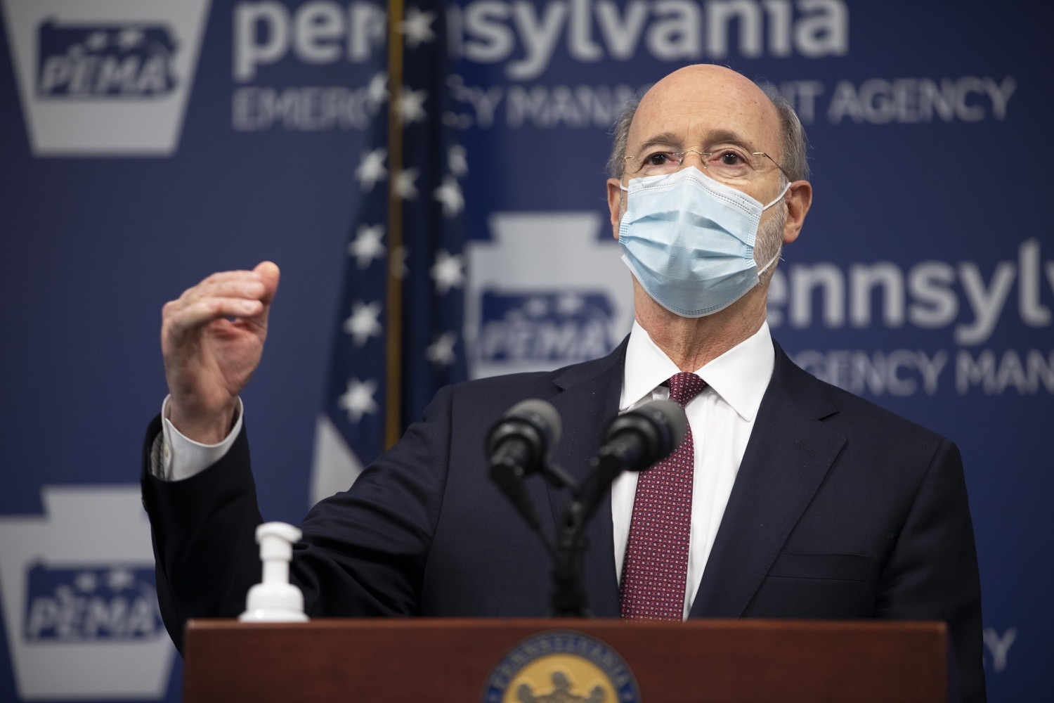 "<a href=""https://filesource.wostreaming.net/commonwealthofpa/photo/18477_gov_covidUpdate_dz_11.jpg"" target=""_blank"">⇣ Download Photo<br></a>Pennsylvania Governor Tom Wolf answers questions from the press.  An orderly, planned distribution of the COVID-19 vaccine is a priority of the Wolf Administration and today, Governor Tom Wolf and Department of Health Secretary Dr. Rachel Levine shared an update on the vaccine, stressing its safety and efficacy. Harrisburg, PA  January 12, 2021"