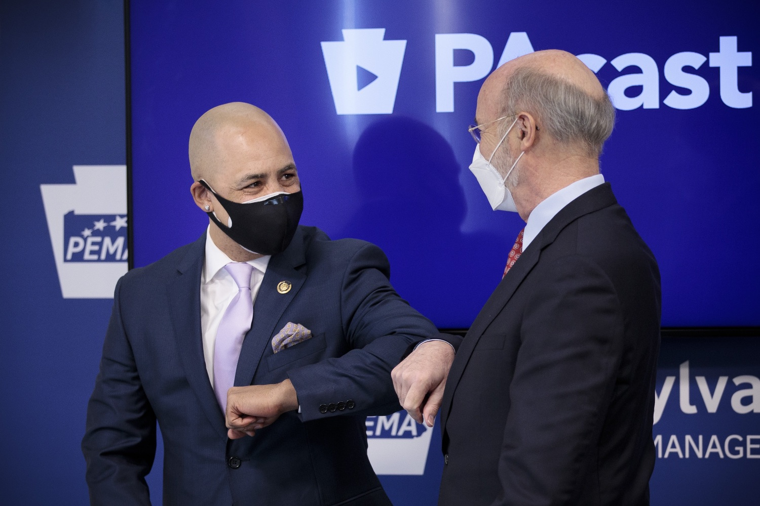 "<a href=""https://filesource.wostreaming.net/commonwealthofpa/photo/18512_gov_education_dz_05.jpg"" target=""_blank"">⇣ Download Photo<br></a>Pennsylvania Governor Tom Wolf greeting Pennsylvania Representative Chris Rabb before the press conference.  Continuing to make the future of Pennsylvanias students a priority, Governor Tom Wolfs 2021 agenda makes a historic $1.3 billion investment in public schools and creates fairness in education funding, while cutting taxes for working families and businesses. Harrisburg, PA  February 4, 2021"