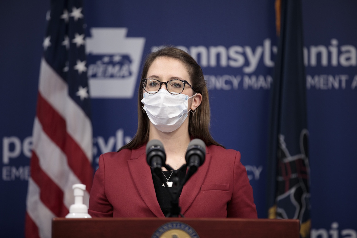 """<a href=""""https://filesource.wostreaming.net/commonwealthofpa/photo/18514_doh_vaccine_dz_02.jpg"""" target=""""_blank"""">⇣Download Photo<br></a>Department of Health Senior Advisor Lindsey Mauldin speaking at the press conference.  The Pennsylvania Department of Health today confirmed as of 12:00 a.m., February 5, there were 4,688 additional positive cases of COVID-19, bringing the statewide total to 861,674. Harrisburg, PA - February 5, 2021"""