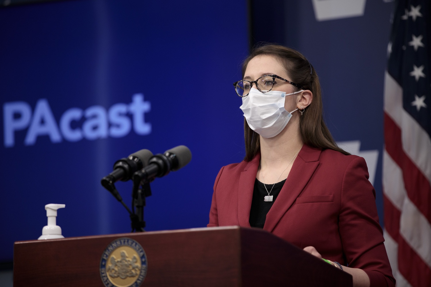 """<a href=""""https://filesource.wostreaming.net/commonwealthofpa/photo/18514_doh_vaccine_dz_03.jpg"""" target=""""_blank"""">⇣Download Photo<br></a>Department of Health Senior Advisor Lindsey Mauldin speaking at the press conference.  The Pennsylvania Department of Health today confirmed as of 12:00 a.m., February 5, there were 4,688 additional positive cases of COVID-19, bringing the statewide total to 861,674. Harrisburg, PA - February 5, 2021"""
