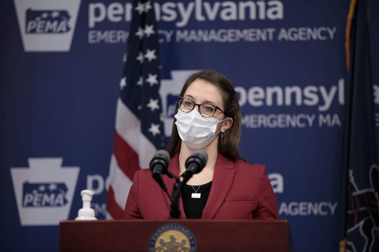 """<a href=""""https://filesource.wostreaming.net/commonwealthofpa/photo/18514_doh_vaccine_dz_08.jpg"""" target=""""_blank"""">⇣Download Photo<br></a>Department of Health Senior Advisor Lindsey Mauldin speaking at the press conference.  The Pennsylvania Department of Health today confirmed as of 12:00 a.m., February 5, there were 4,688 additional positive cases of COVID-19, bringing the statewide total to 861,674. Harrisburg, PA - February 5, 2021"""