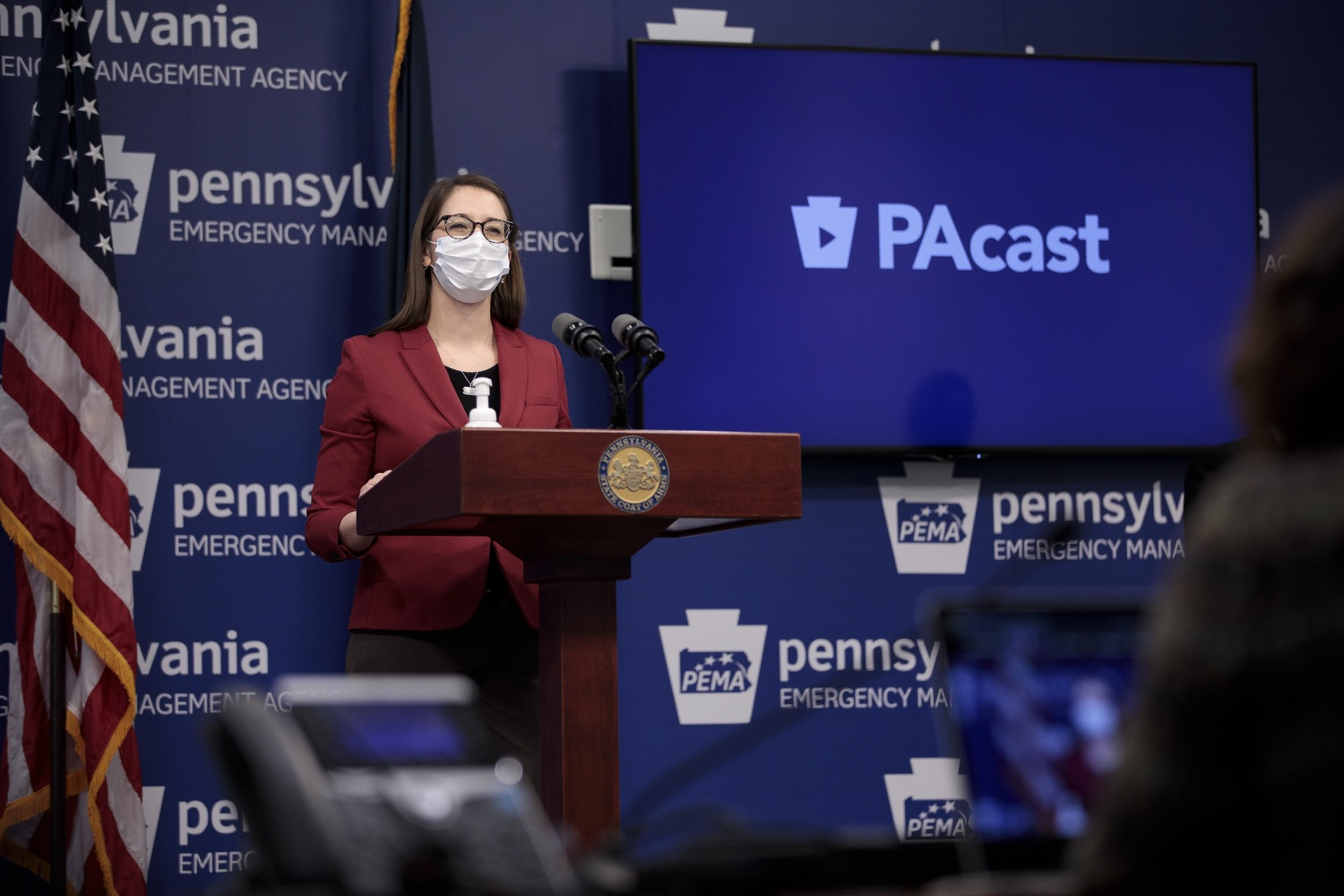 """<a href=""""https://filesource.wostreaming.net/commonwealthofpa/photo/18514_doh_vaccine_dz_09.jpg"""" target=""""_blank"""">⇣Download Photo<br></a>Department of Health Senior Advisor Lindsey Mauldin speaking at the press conference.  The Pennsylvania Department of Health today confirmed as of 12:00 a.m., February 5, there were 4,688 additional positive cases of COVID-19, bringing the statewide total to 861,674. Harrisburg, PA - February 5, 2021"""