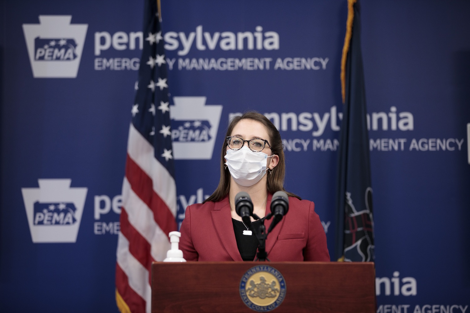 """<a href=""""https://filesource.wostreaming.net/commonwealthofpa/photo/18514_doh_vaccine_dz_10.jpg"""" target=""""_blank"""">⇣Download Photo<br></a>Department of Health Senior Advisor Lindsey Mauldin speaking at the press conference.  The Pennsylvania Department of Health today confirmed as of 12:00 a.m., February 5, there were 4,688 additional positive cases of COVID-19, bringing the statewide total to 861,674. Harrisburg, PA - February 5, 2021"""