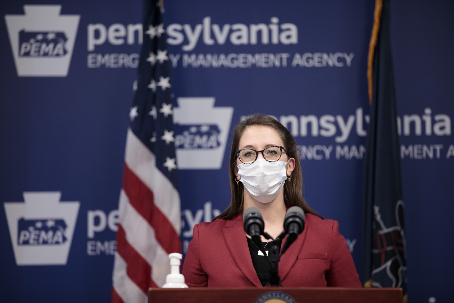"""<a href=""""https://filesource.wostreaming.net/commonwealthofpa/photo/18514_doh_vaccine_dz_12.jpg"""" target=""""_blank"""">⇣Download Photo<br></a>Department of Health Senior Advisor Lindsey Mauldin speaking at the press conference.  The Pennsylvania Department of Health today confirmed as of 12:00 a.m., February 5, there were 4,688 additional positive cases of COVID-19, bringing the statewide total to 861,674. Harrisburg, PA - February 5, 2021"""