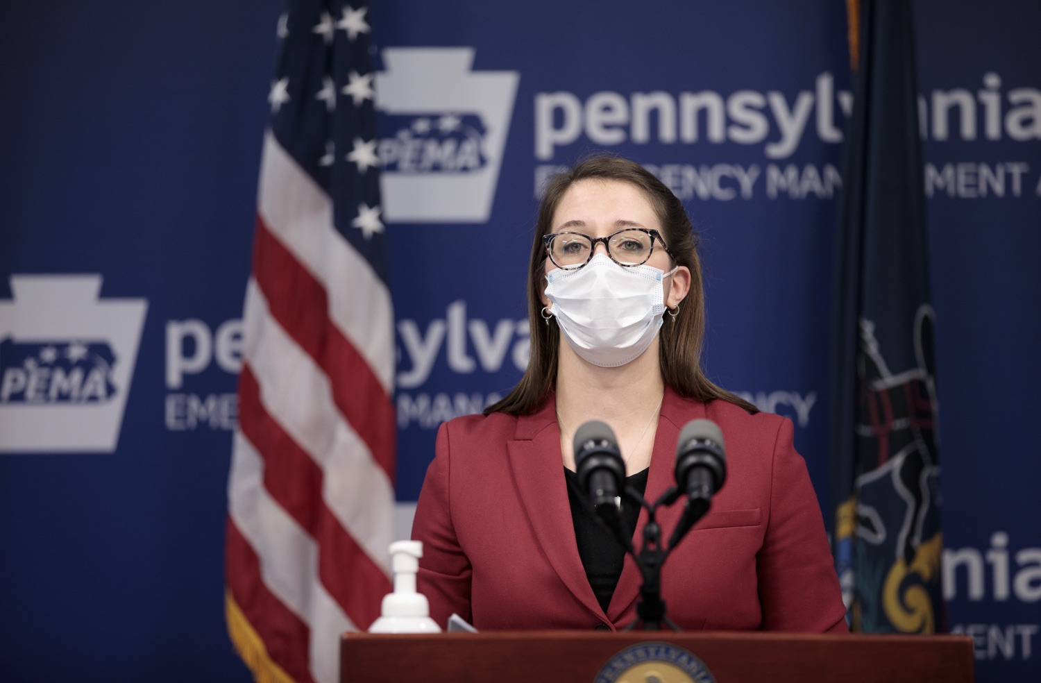 """<a href=""""https://filesource.wostreaming.net/commonwealthofpa/photo/18514_doh_vaccine_dz_13.jpg"""" target=""""_blank"""">⇣Download Photo<br></a>Department of Health Senior Advisor Lindsey Mauldin speaking at the press conference.  The Pennsylvania Department of Health today confirmed as of 12:00 a.m., February 5, there were 4,688 additional positive cases of COVID-19, bringing the statewide total to 861,674. Harrisburg, PA - February 5, 2021"""