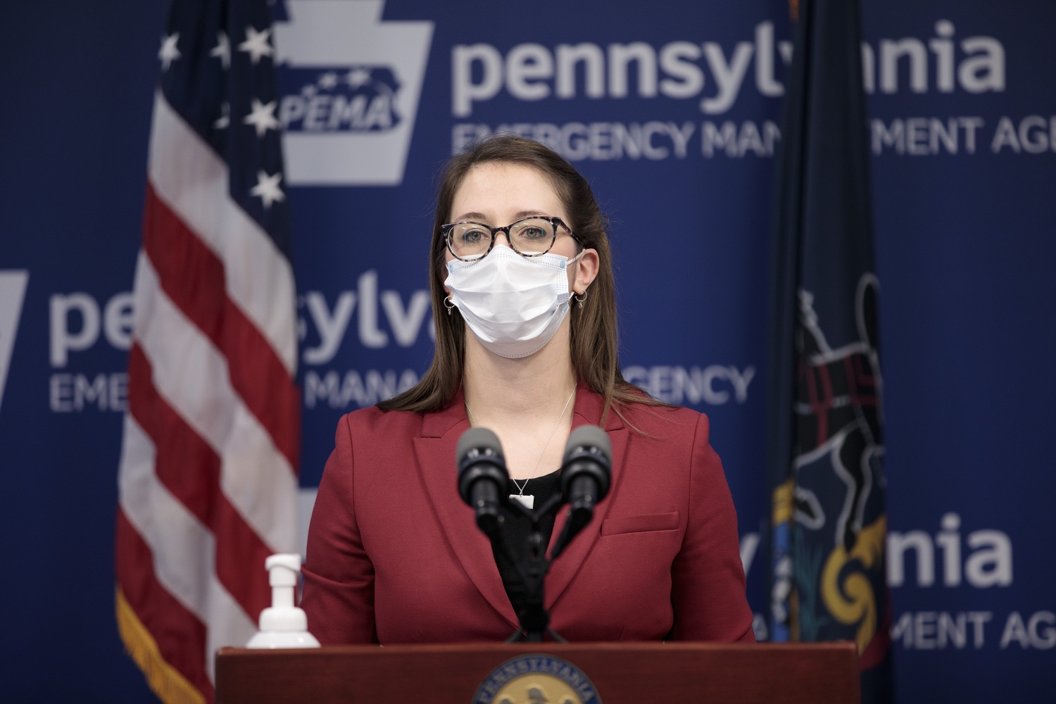 """<a href=""""https://filesource.wostreaming.net/commonwealthofpa/photo/18514_doh_vaccine_dz_14.jpg"""" target=""""_blank"""">⇣Download Photo<br></a>Department of Health Senior Advisor Lindsey Mauldin speaking at the press conference.  The Pennsylvania Department of Health today confirmed as of 12:00 a.m., February 5, there were 4,688 additional positive cases of COVID-19, bringing the statewide total to 861,674. Harrisburg, PA - February 5, 2021"""