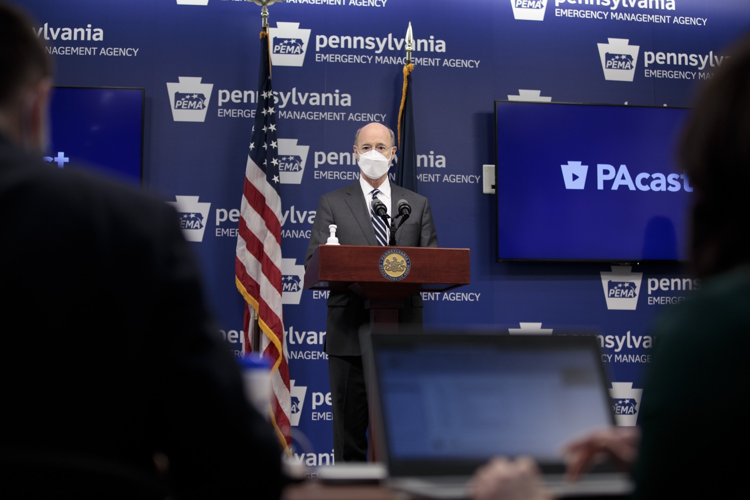 "<a href=""https://filesource.wostreaming.net/commonwealthofpa/photo/18521_gov_minimumWage_dz_07.jpg"" target=""_blank"">⇣ Download Photo<br></a>Pennsylvania Governor Tom Wolf answers questions from the press.  Building on his plan to cut personal income taxes for 2.8 million Pennsylvanians, Governor Tom Wolf wants to help thousands of essential workers struggling to buy food and avoid homelessness because of poverty wages. Today, the governor renewed his call to increase the states embarrassingly low minimum wage to $12 per hour on July 1, with annual increases of $0.50 until reaching $15 per hour on July 1, 2027. FEBRUARY 09, 2021 - HARRISBURG, PA"