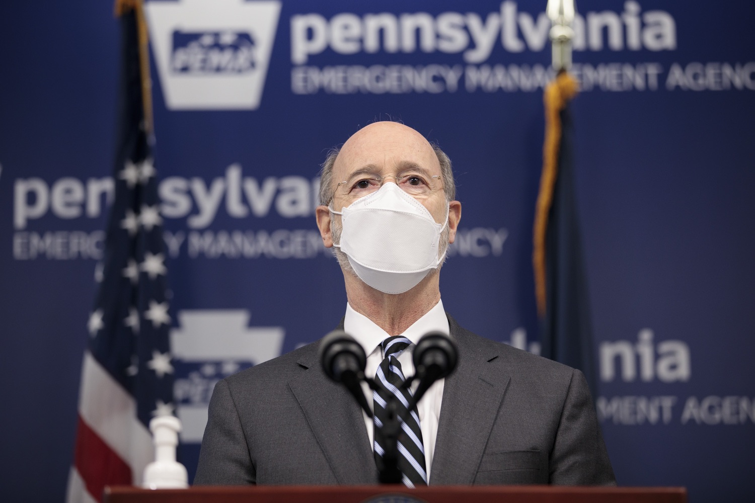 "<a href=""https://filesource.wostreaming.net/commonwealthofpa/photo/18521_gov_minimumWage_dz_14.jpg"" target=""_blank"">⇣ Download Photo<br></a>Pennsylvania Governor Tom Wolf answers questions from the press.  Building on his plan to cut personal income taxes for 2.8 million Pennsylvanians, Governor Tom Wolf wants to help thousands of essential workers struggling to buy food and avoid homelessness because of poverty wages. Today, the governor renewed his call to increase the states embarrassingly low minimum wage to $12 per hour on July 1, with annual increases of $0.50 until reaching $15 per hour on July 1, 2027. FEBRUARY 09, 2021 - HARRISBURG, PA"