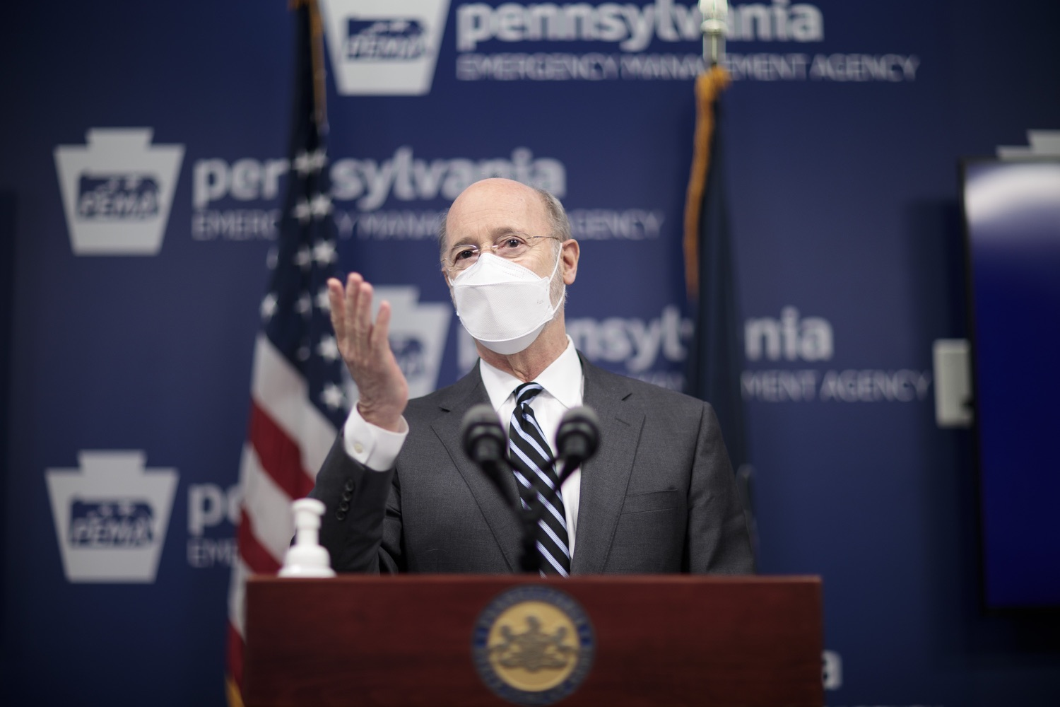 "<a href=""https://filesource.wostreaming.net/commonwealthofpa/photo/18521_gov_minimumWage_dz_15.jpg"" target=""_blank"">⇣ Download Photo<br></a>Pennsylvania Governor Tom Wolf answers questions from the press.  Building on his plan to cut personal income taxes for 2.8 million Pennsylvanians, Governor Tom Wolf wants to help thousands of essential workers struggling to buy food and avoid homelessness because of poverty wages. Today, the governor renewed his call to increase the states embarrassingly low minimum wage to $12 per hour on July 1, with annual increases of $0.50 until reaching $15 per hour on July 1, 2027. FEBRUARY 09, 2021 - HARRISBURG, PA"