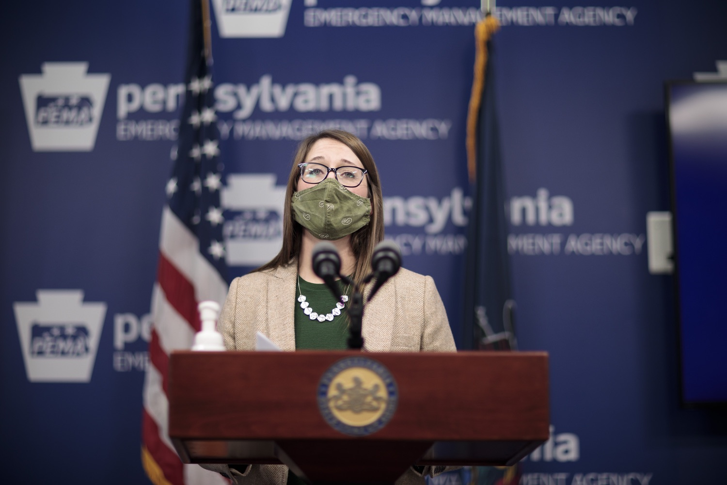 """<a href=""""https://filesource.wostreaming.net/commonwealthofpa/photo/18524_doh_vaccine_dz_04.JPG"""" target=""""_blank"""">⇣Download Photo<br></a>Department of Health Senior Advisor Lindsey Mauldin speaking at the press conference.  The Pennsylvania Department of Health today launched a new tool called Your Turn to help Pennsylvanians understand where they fall in the vaccine prioritization effort and to be alerted when it is their turn to schedule an appointment for the COVID-19 vaccine.  Harrisburg, PA  February 9, 2021"""