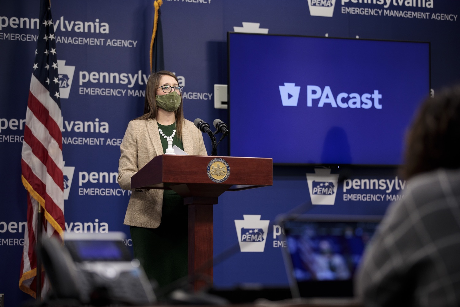 """<a href=""""https://filesource.wostreaming.net/commonwealthofpa/photo/18524_doh_vaccine_dz_07.JPG"""" target=""""_blank"""">⇣Download Photo<br></a>Department of Health Senior Advisor Lindsey Mauldin speaking at the press conference.  The Pennsylvania Department of Health today launched a new tool called Your Turn to help Pennsylvanians understand where they fall in the vaccine prioritization effort and to be alerted when it is their turn to schedule an appointment for the COVID-19 vaccine.  Harrisburg, PA  February 9, 2021"""