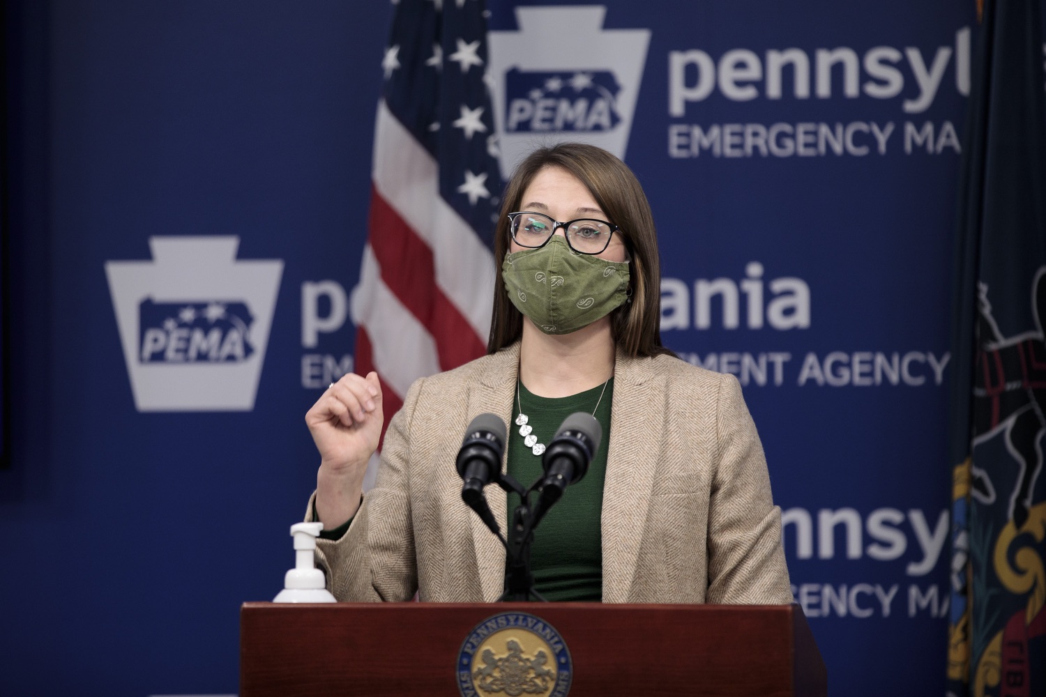 """<a href=""""https://filesource.wostreaming.net/commonwealthofpa/photo/18524_doh_vaccine_dz_09.JPG"""" target=""""_blank"""">⇣Download Photo<br></a>Department of Health Senior Advisor Lindsey Mauldin speaking at the press conference.  The Pennsylvania Department of Health today launched a new tool called Your Turn to help Pennsylvanians understand where they fall in the vaccine prioritization effort and to be alerted when it is their turn to schedule an appointment for the COVID-19 vaccine.  Harrisburg, PA  February 9, 2021"""