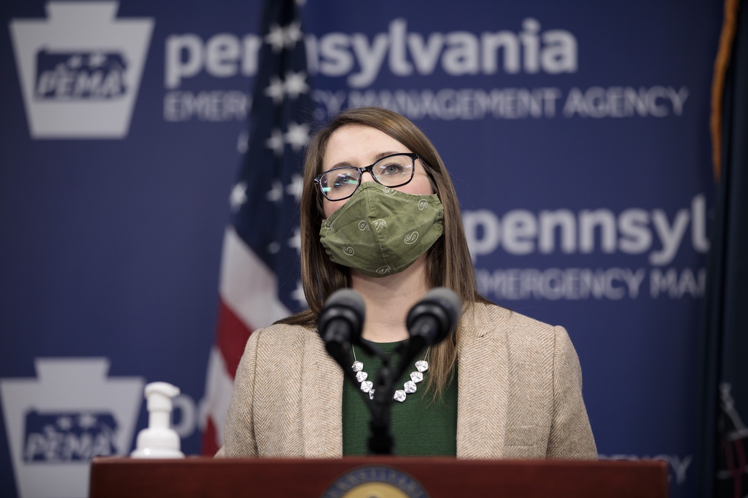 """<a href=""""https://filesource.wostreaming.net/commonwealthofpa/photo/18524_doh_vaccine_dz_12.JPG"""" target=""""_blank"""">⇣Download Photo<br></a>Department of Health Senior Advisor Lindsey Mauldin speaking at the press conference.  The Pennsylvania Department of Health today launched a new tool called Your Turn to help Pennsylvanians understand where they fall in the vaccine prioritization effort and to be alerted when it is their turn to schedule an appointment for the COVID-19 vaccine.  Harrisburg, PA  February 9, 2021"""