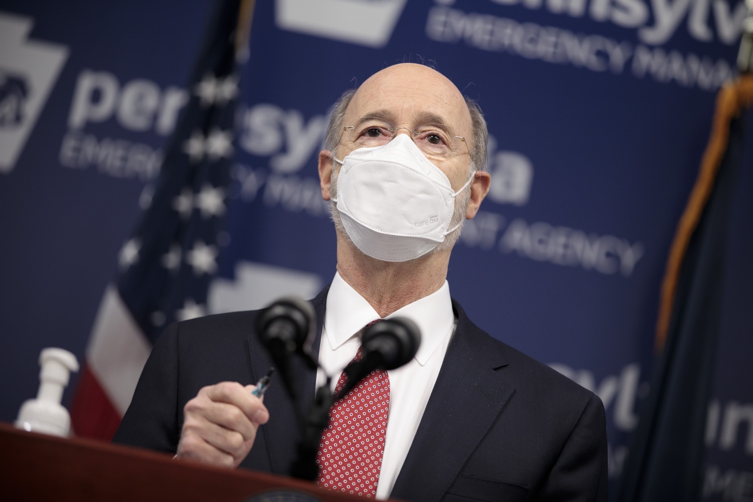 """<a href=""""https://filesource.wostreaming.net/commonwealthofpa/photo/18528_gov_vaccines_dz_01.jpg"""" target=""""_blank"""">⇣Download Photo<br></a>Pennsylvania Governor Tom Wolf speaking at the press conference.  As the state continues to get vaccine to Phase 1A eligible Pennsylvanians, today Governor Tom Wolf and Secretary of Aging Robert Torres highlighted some of the community-based solutions that are working to help Pennsylvanians 65-plus access the COVID- 19 vaccine.  FEBRUARY 11, 2021 - HARRISBURG, PA"""