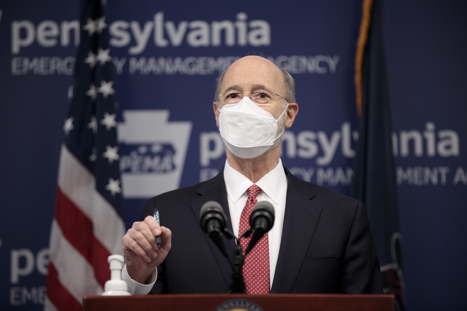 "<a href=""https://filesource.wostreaming.net/commonwealthofpa/photo/18528_gov_vaccines_dz_02.jpg"" target=""_blank"">⇣ Download Photo<br></a>Pennsylvania Governor Tom Wolf speaking at the press conference.  As the state continues to get vaccine to Phase 1A eligible Pennsylvanians, today Governor Tom Wolf and Secretary of Aging Robert Torres highlighted some of the community-based solutions that are working to help Pennsylvanians 65-plus access the COVID- 19 vaccine.  FEBRUARY 11, 2021 - HARRISBURG, PA"