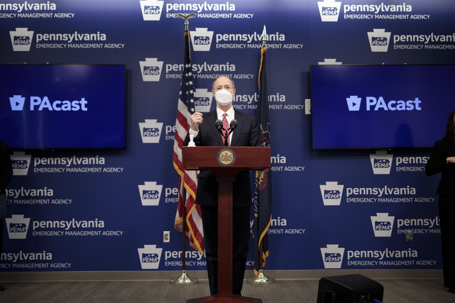 """<a href=""""https://filesource.wostreaming.net/commonwealthofpa/photo/18528_gov_vaccines_dz_03.jpg"""" target=""""_blank"""">⇣Download Photo<br></a>Pennsylvania Governor Tom Wolf speaking at the press conference.  As the state continues to get vaccine to Phase 1A eligible Pennsylvanians, today Governor Tom Wolf and Secretary of Aging Robert Torres highlighted some of the community-based solutions that are working to help Pennsylvanians 65-plus access the COVID- 19 vaccine.  FEBRUARY 11, 2021 - HARRISBURG, PA"""