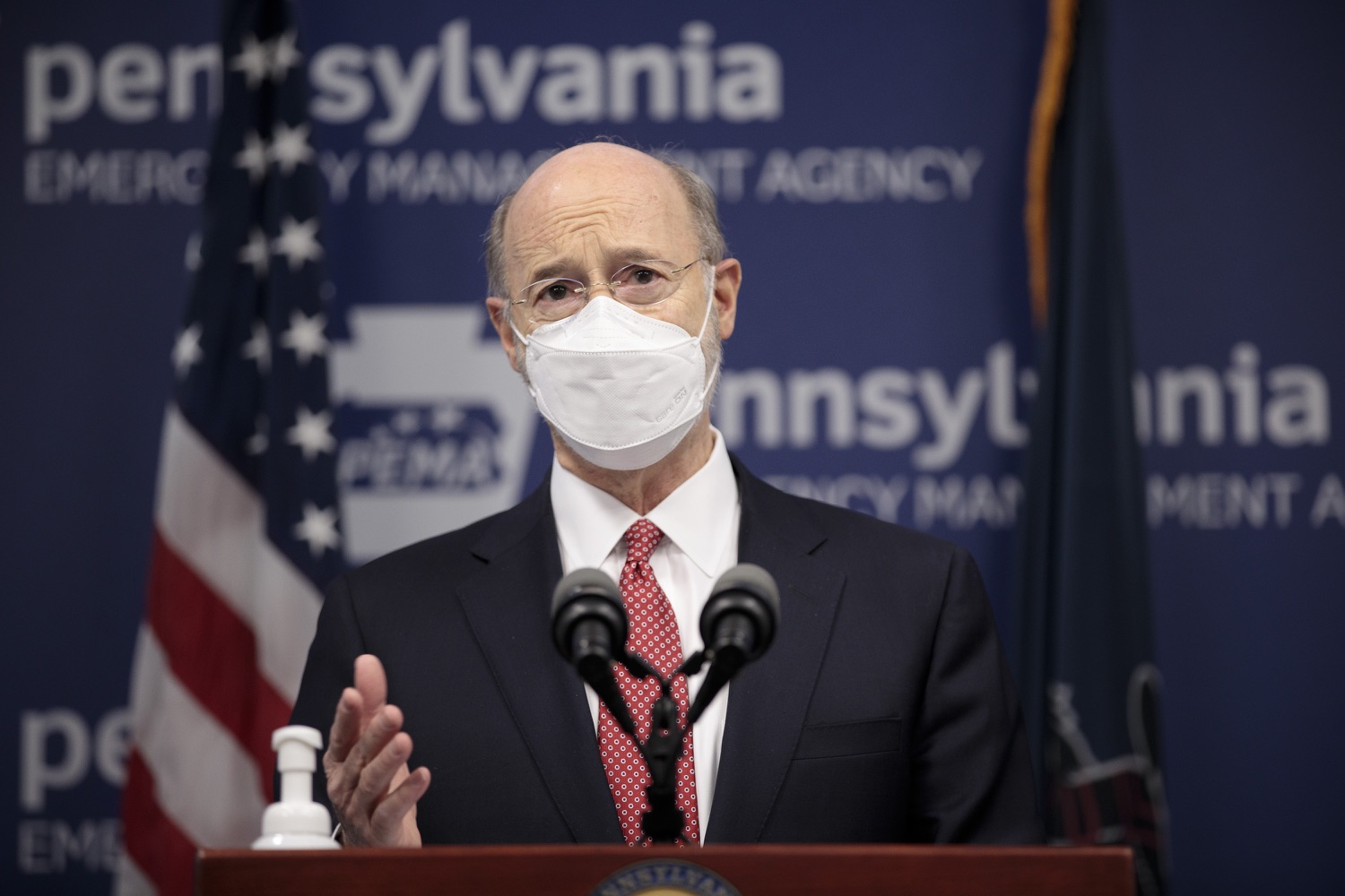 """<a href=""""https://filesource.wostreaming.net/commonwealthofpa/photo/18528_gov_vaccines_dz_04.jpg"""" target=""""_blank"""">⇣Download Photo<br></a>Pennsylvania Governor Tom Wolf speaking at the press conference.  As the state continues to get vaccine to Phase 1A eligible Pennsylvanians, today Governor Tom Wolf and Secretary of Aging Robert Torres highlighted some of the community-based solutions that are working to help Pennsylvanians 65-plus access the COVID- 19 vaccine.  FEBRUARY 11, 2021 - HARRISBURG, PA"""