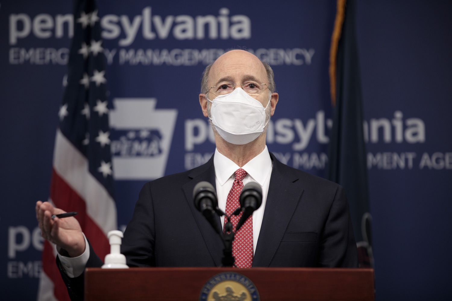 "<a href=""https://filesource.wostreaming.net/commonwealthofpa/photo/18528_gov_vaccines_dz_06.jpg"" target=""_blank"">⇣ Download Photo<br></a>Pennsylvania Governor Tom Wolf speaking at the press conference.  As the state continues to get vaccine to Phase 1A eligible Pennsylvanians, today Governor Tom Wolf and Secretary of Aging Robert Torres highlighted some of the community-based solutions that are working to help Pennsylvanians 65-plus access the COVID- 19 vaccine.  FEBRUARY 11, 2021 - HARRISBURG, PA"