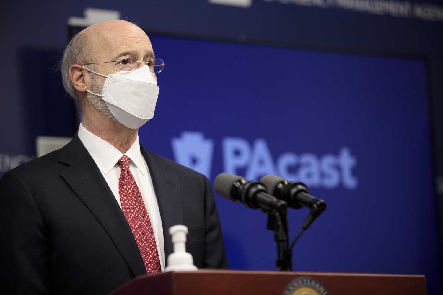 """<a href=""""https://filesource.wostreaming.net/commonwealthofpa/photo/18528_gov_vaccines_dz_07.jpg"""" target=""""_blank"""">⇣Download Photo<br></a>Pennsylvania Governor Tom Wolf speaking at the press conference.  As the state continues to get vaccine to Phase 1A eligible Pennsylvanians, today Governor Tom Wolf and Secretary of Aging Robert Torres highlighted some of the community-based solutions that are working to help Pennsylvanians 65-plus access the COVID- 19 vaccine.  FEBRUARY 11, 2021 - HARRISBURG, PA"""
