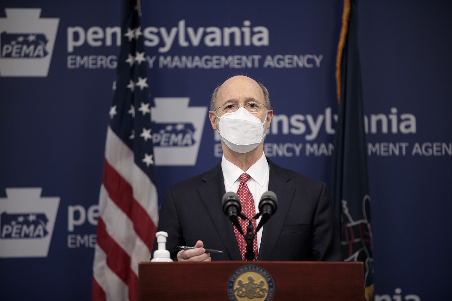"""<a href=""""https://filesource.wostreaming.net/commonwealthofpa/photo/18528_gov_vaccines_dz_08.jpg"""" target=""""_blank"""">⇣Download Photo<br></a>Pennsylvania Governor Tom Wolf speaking at the press conference.  As the state continues to get vaccine to Phase 1A eligible Pennsylvanians, today Governor Tom Wolf and Secretary of Aging Robert Torres highlighted some of the community-based solutions that are working to help Pennsylvanians 65-plus access the COVID- 19 vaccine.  FEBRUARY 11, 2021 - HARRISBURG, PA"""