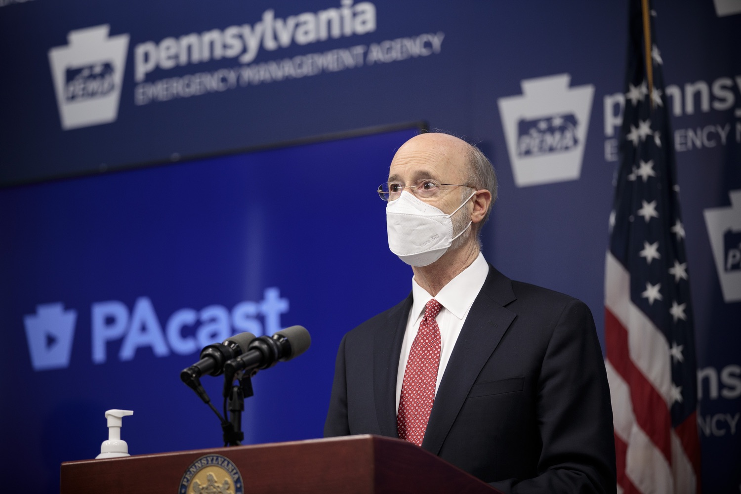 """<a href=""""https://filesource.wostreaming.net/commonwealthofpa/photo/18528_gov_vaccines_dz_09.jpg"""" target=""""_blank"""">⇣Download Photo<br></a>Pennsylvania Governor Tom Wolf speaking at the press conference.  As the state continues to get vaccine to Phase 1A eligible Pennsylvanians, today Governor Tom Wolf and Secretary of Aging Robert Torres highlighted some of the community-based solutions that are working to help Pennsylvanians 65-plus access the COVID- 19 vaccine.  FEBRUARY 11, 2021 - HARRISBURG, PA"""