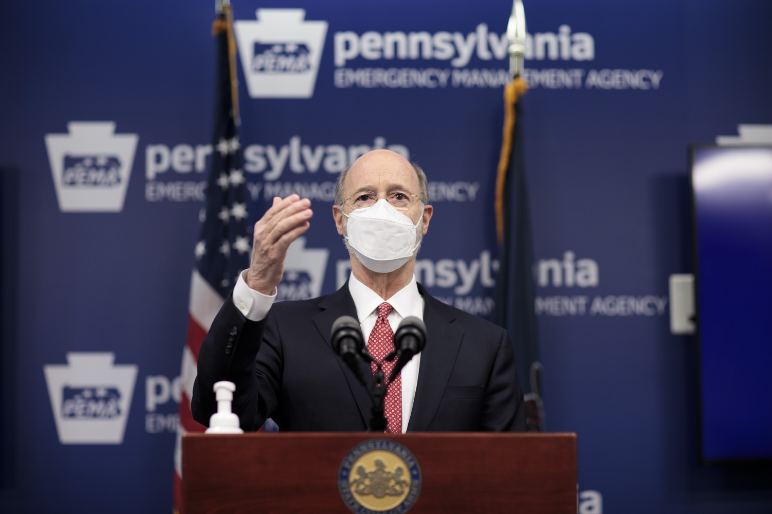 """<a href=""""https://filesource.wostreaming.net/commonwealthofpa/photo/18528_gov_vaccines_dz_12.jpg"""" target=""""_blank"""">⇣Download Photo<br></a>Pennsylvania Governor Tom Wolf speaking at the press conference.  As the state continues to get vaccine to Phase 1A eligible Pennsylvanians, today Governor Tom Wolf and Secretary of Aging Robert Torres highlighted some of the community-based solutions that are working to help Pennsylvanians 65-plus access the COVID- 19 vaccine.  FEBRUARY 11, 2021 - HARRISBURG, PA"""