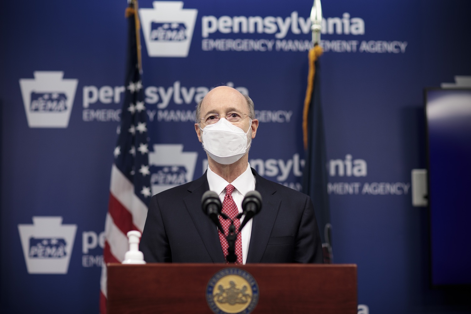 """<a href=""""https://filesource.wostreaming.net/commonwealthofpa/photo/18528_gov_vaccines_dz_14.jpg"""" target=""""_blank"""">⇣Download Photo<br></a>Pennsylvania Governor Tom Wolf speaking at the press conference.  As the state continues to get vaccine to Phase 1A eligible Pennsylvanians, today Governor Tom Wolf and Secretary of Aging Robert Torres highlighted some of the community-based solutions that are working to help Pennsylvanians 65-plus access the COVID- 19 vaccine.  FEBRUARY 11, 2021 - HARRISBURG, PA"""