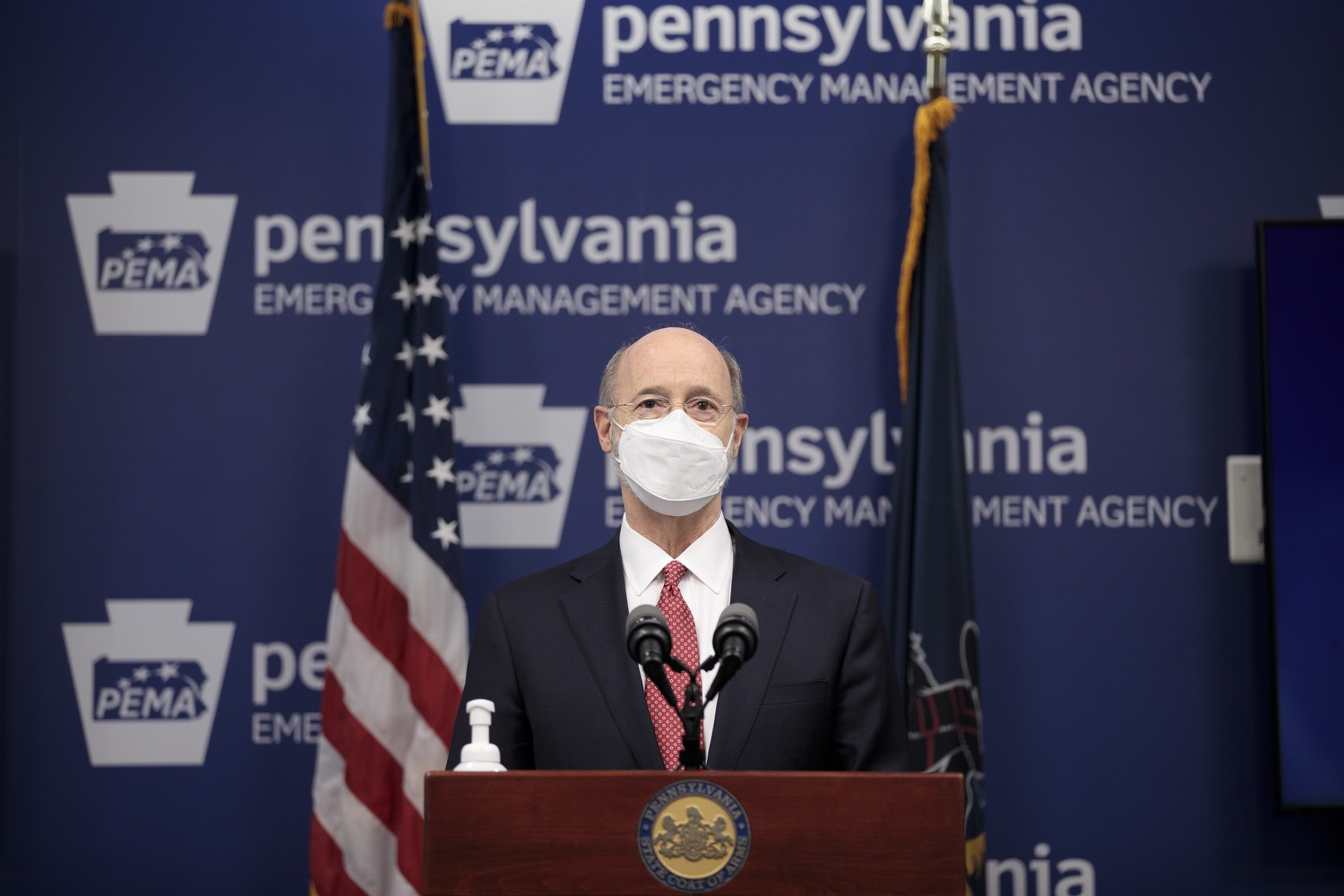 "<a href=""https://filesource.wostreaming.net/commonwealthofpa/photo/18528_gov_vaccines_dz_18.jpg"" target=""_blank"">⇣ Download Photo<br></a>Pennsylvania Governor Tom Wolf speaking at the press conference.  As the state continues to get vaccine to Phase 1A eligible Pennsylvanians, today Governor Tom Wolf and Secretary of Aging Robert Torres highlighted some of the community-based solutions that are working to help Pennsylvanians 65-plus access the COVID- 19 vaccine.  FEBRUARY 11, 2021 - HARRISBURG, PA"