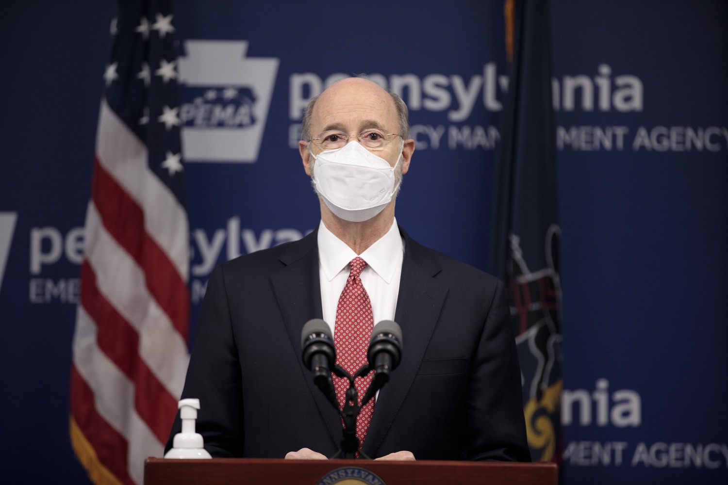 """<a href=""""https://filesource.wostreaming.net/commonwealthofpa/photo/18528_gov_vaccines_dz_19.jpg"""" target=""""_blank"""">⇣Download Photo<br></a>Pennsylvania Governor Tom Wolf speaking at the press conference.  As the state continues to get vaccine to Phase 1A eligible Pennsylvanians, today Governor Tom Wolf and Secretary of Aging Robert Torres highlighted some of the community-based solutions that are working to help Pennsylvanians 65-plus access the COVID- 19 vaccine.  FEBRUARY 11, 2021 - HARRISBURG, PA"""