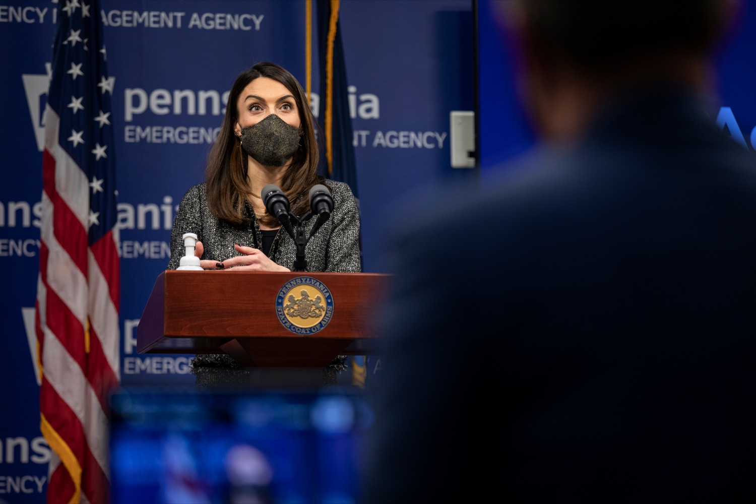 "<a href=""https://filesource.wostreaming.net/commonwealthofpa/photo/18533_DOH_Vaccine_NK_002.jpg"" target=""_blank"">⇣ Download Photo<br></a>Pennsylvania Acting Secretary of Health Alison Beam speaks during a virtual press conference inside Pennsylvania Emergency Management Agency in Harrisburg on Friday, February 12, 2021."