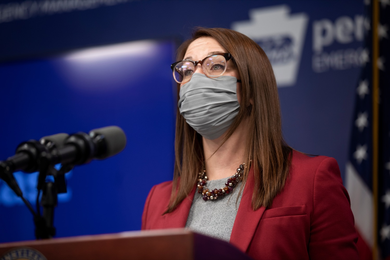 """<a href=""""https://filesource.wostreaming.net/commonwealthofpa/photo/18533_DOH_Vaccine_NK_010.jpg"""" target=""""_blank"""">⇣Download Photo<br></a>Department of Health Senior Advisor Lindsey Mauldin speaks during a virtual press conference inside Pennsylvania Emergency Management Agency in Harrisburg on Friday, February 12, 2021."""