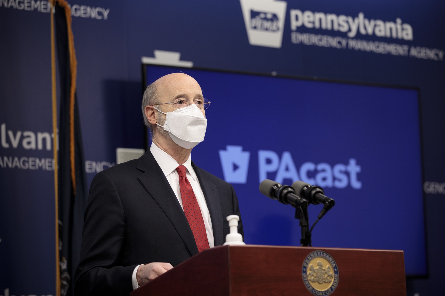 "<a href=""https://filesource.wostreaming.net/commonwealthofpa/photo/18540_gov_backtowork_dz_02.jpg"" target=""_blank"">⇣ Download Photo<br></a>Pennsylvania Governor Tom Wolf speaking at the press conference. The COVID-19 global pandemic has significantly affected Pennsylvania workers, businesses and communities. To bolster economic recovery efforts and position Pennsylvania for economic growth, Governor Tom Wolf today unveiled his Back to Work PA plan.   Harrisburg, PA  February 22, 2021"