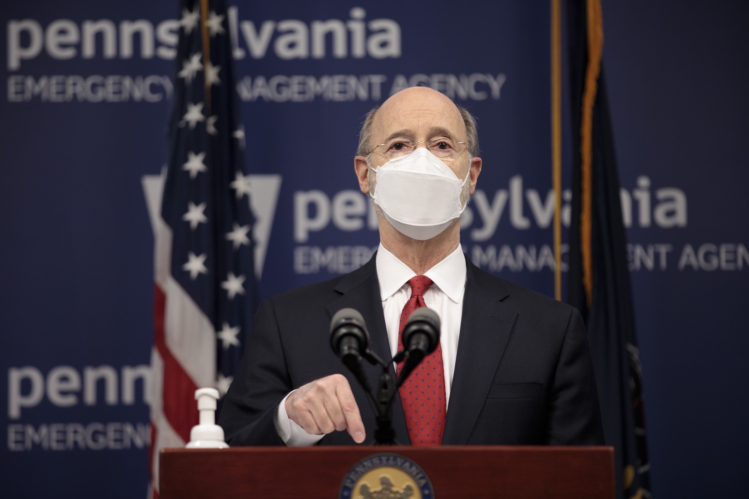 "<a href=""https://filesource.wostreaming.net/commonwealthofpa/photo/18540_gov_backtowork_dz_03.jpg"" target=""_blank"">⇣ Download Photo<br></a>Pennsylvania Governor Tom Wolf speaking at the press conference. The COVID-19 global pandemic has significantly affected Pennsylvania workers, businesses and communities. To bolster economic recovery efforts and position Pennsylvania for economic growth, Governor Tom Wolf today unveiled his Back to Work PA plan.   Harrisburg, PA  February 22, 2021"
