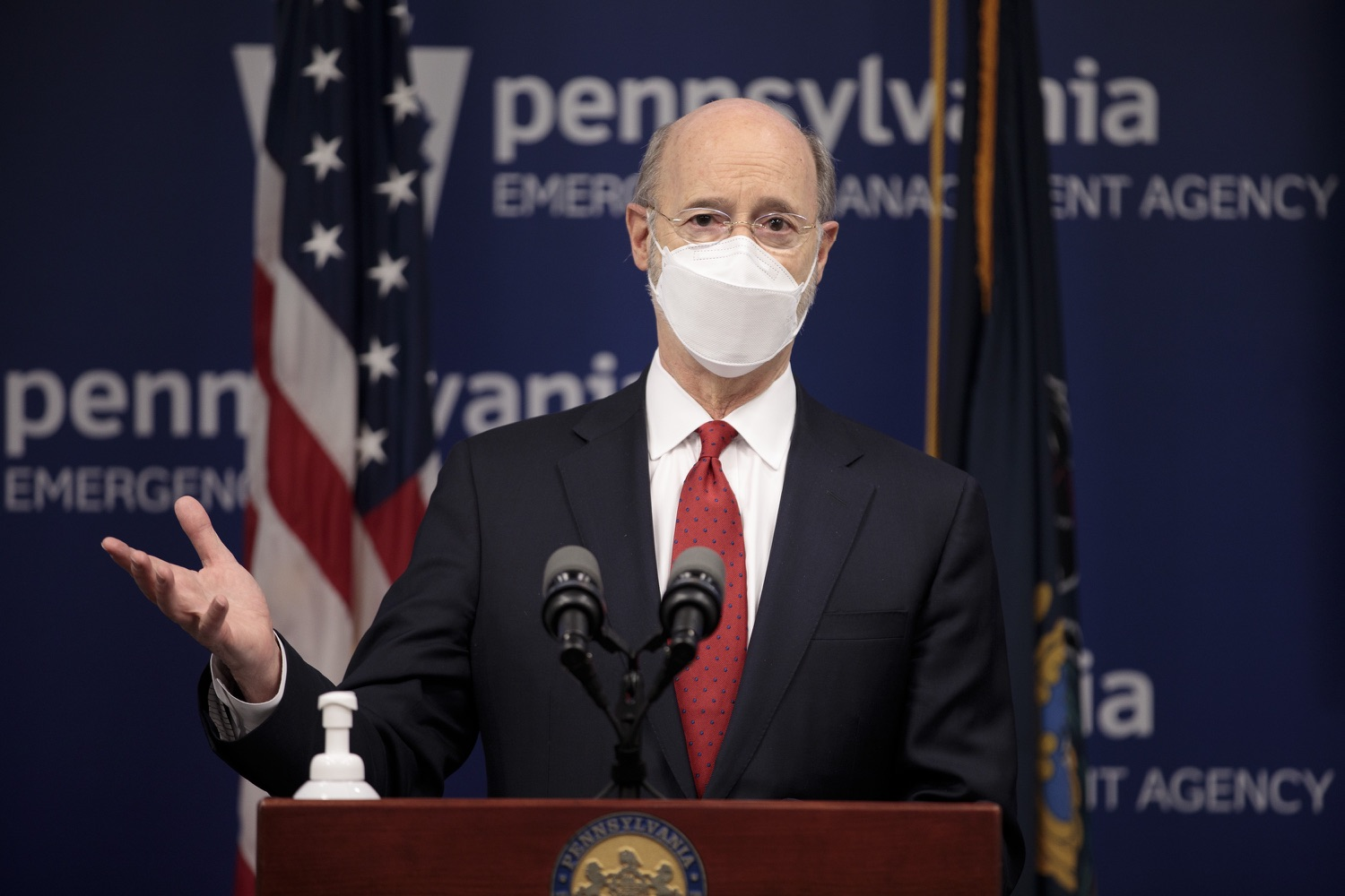 "<a href=""https://filesource.wostreaming.net/commonwealthofpa/photo/18540_gov_backtowork_dz_04.jpg"" target=""_blank"">⇣ Download Photo<br></a>Pennsylvania Governor Tom Wolf speaking at the press conference. The COVID-19 global pandemic has significantly affected Pennsylvania workers, businesses and communities. To bolster economic recovery efforts and position Pennsylvania for economic growth, Governor Tom Wolf today unveiled his Back to Work PA plan.   Harrisburg, PA  February 22, 2021"
