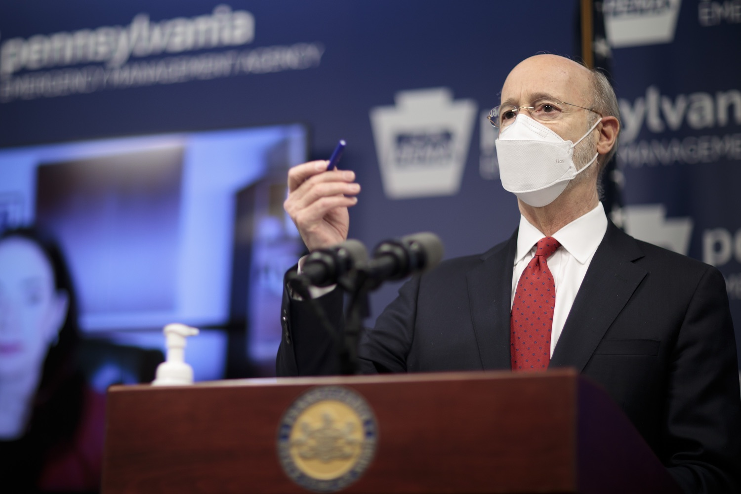 "<a href=""https://filesource.wostreaming.net/commonwealthofpa/photo/18540_gov_backtowork_dz_06.jpg"" target=""_blank"">⇣ Download Photo<br></a>Pennsylvania Governor Tom Wolf speaking at the press conference. The COVID-19 global pandemic has significantly affected Pennsylvania workers, businesses and communities. To bolster economic recovery efforts and position Pennsylvania for economic growth, Governor Tom Wolf today unveiled his Back to Work PA plan.   Harrisburg, PA  February 22, 2021"