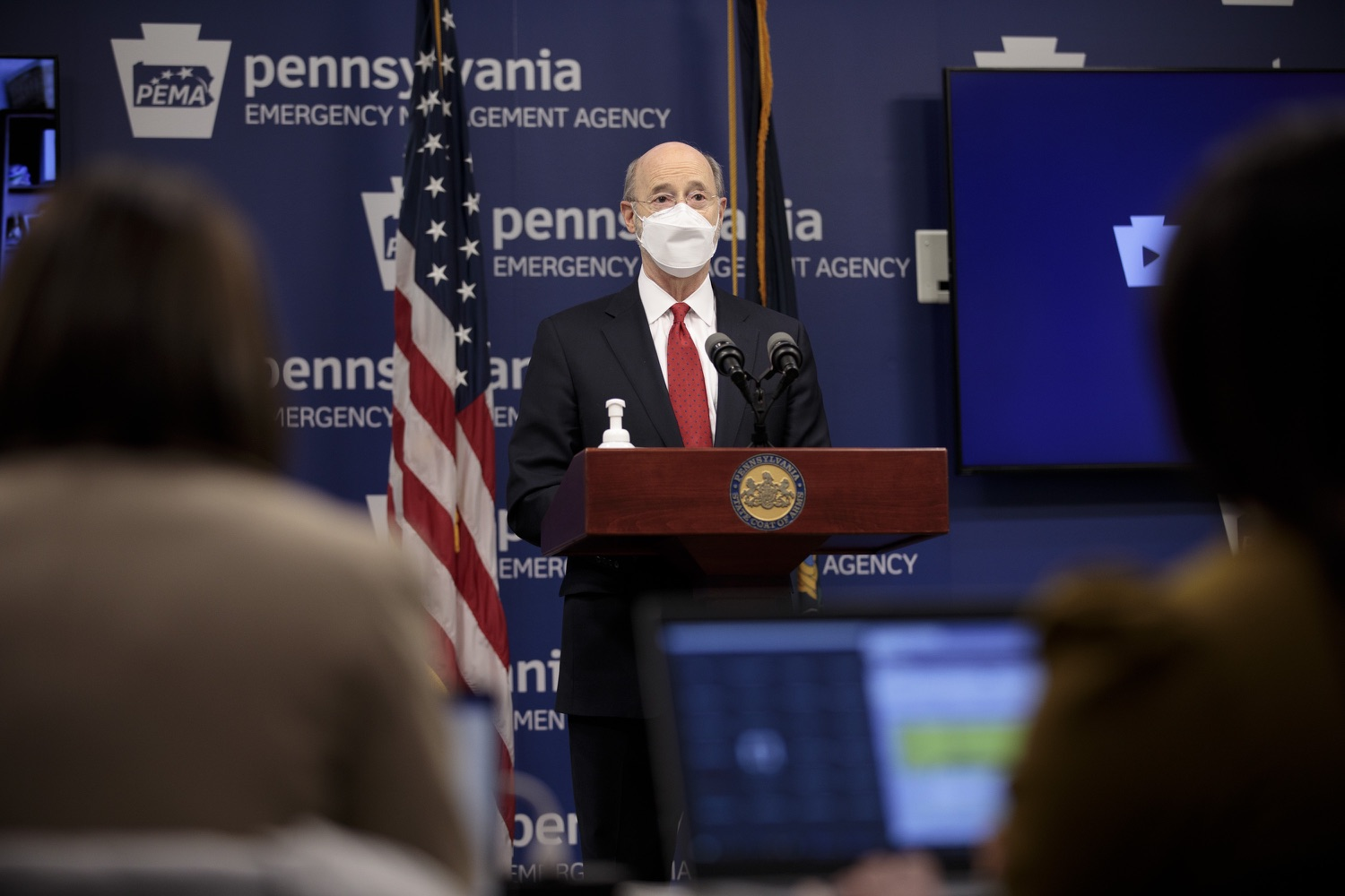 "<a href=""https://filesource.wostreaming.net/commonwealthofpa/photo/18540_gov_backtowork_dz_13.jpg"" target=""_blank"">⇣ Download Photo<br></a>Pennsylvania Governor Tom Wolf speaking at the press conference. The COVID-19 global pandemic has significantly affected Pennsylvania workers, businesses and communities. To bolster economic recovery efforts and position Pennsylvania for economic growth, Governor Tom Wolf today unveiled his Back to Work PA plan.   Harrisburg, PA  February 22, 2021"