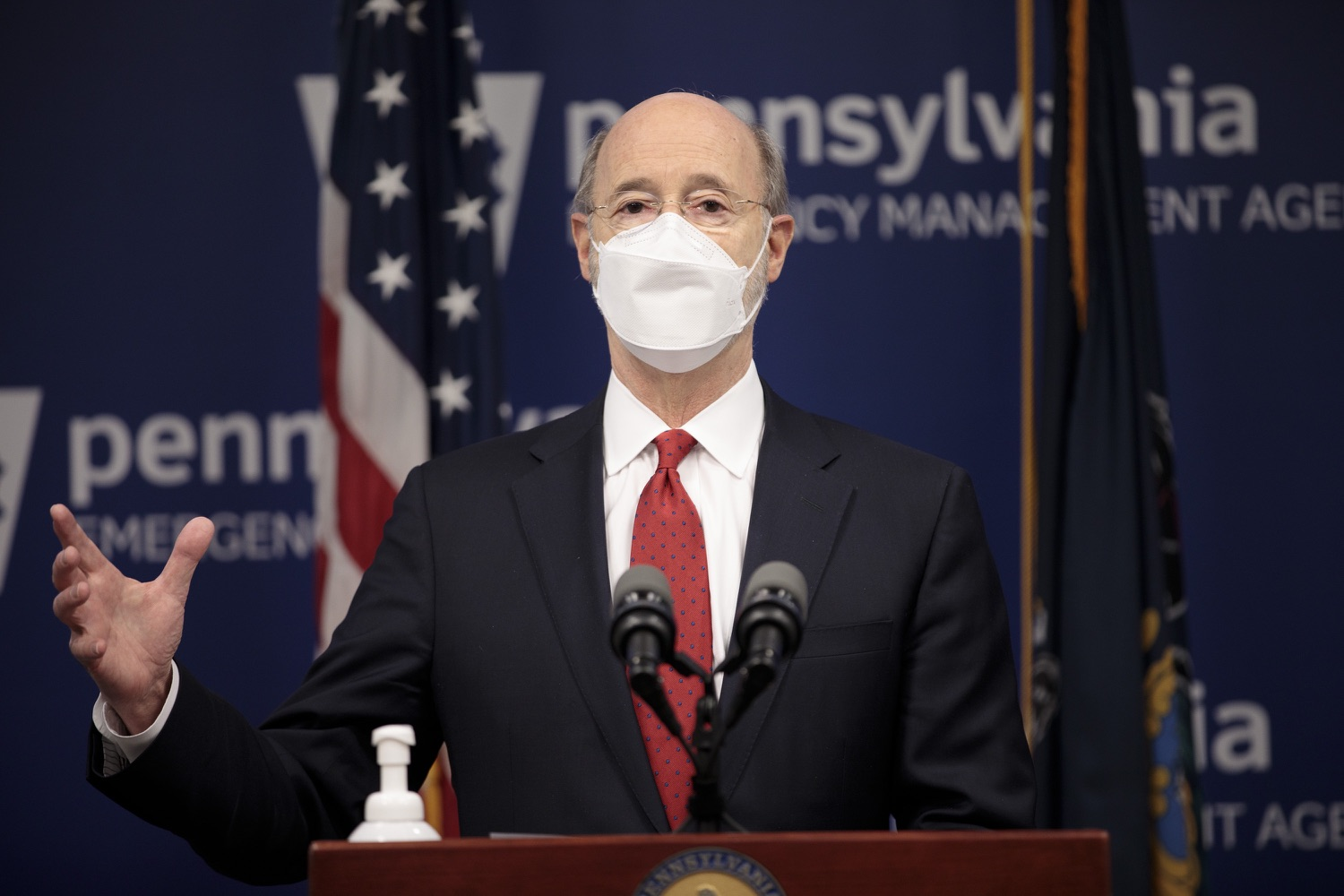 "<a href=""https://filesource.wostreaming.net/commonwealthofpa/photo/18540_gov_backtowork_dz_14.jpg"" target=""_blank"">⇣ Download Photo<br></a>Pennsylvania Governor Tom Wolf speaking at the press conference. The COVID-19 global pandemic has significantly affected Pennsylvania workers, businesses and communities. To bolster economic recovery efforts and position Pennsylvania for economic growth, Governor Tom Wolf today unveiled his Back to Work PA plan.   Harrisburg, PA  February 22, 2021"