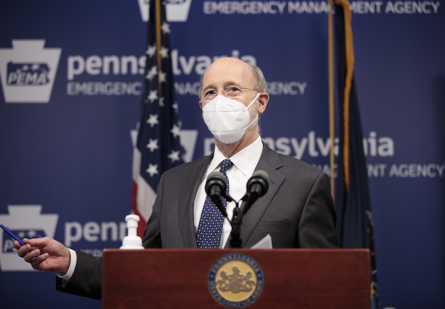 """<a href=""""https://filesource.wostreaming.net/commonwealthofpa/photo/18548_gov_vaccine_dz_01.jpg"""" target=""""_blank"""">⇣Download Photo<br></a>Pennsylvania Governor Tom Wolf speaking at the press conference.  Governor Tom Wolf today marked a milestone in the implementation of the states COVID-19 vaccination plan with the announcement that more than 600 skilled nursing facilities have received first and second doses of the vaccine, and in total more than 315,000 doses of vaccine administered among all long-term care facilities being vaccinated by CVS and Walgreens.  Harrisburg, PA - February 23, 2021"""
