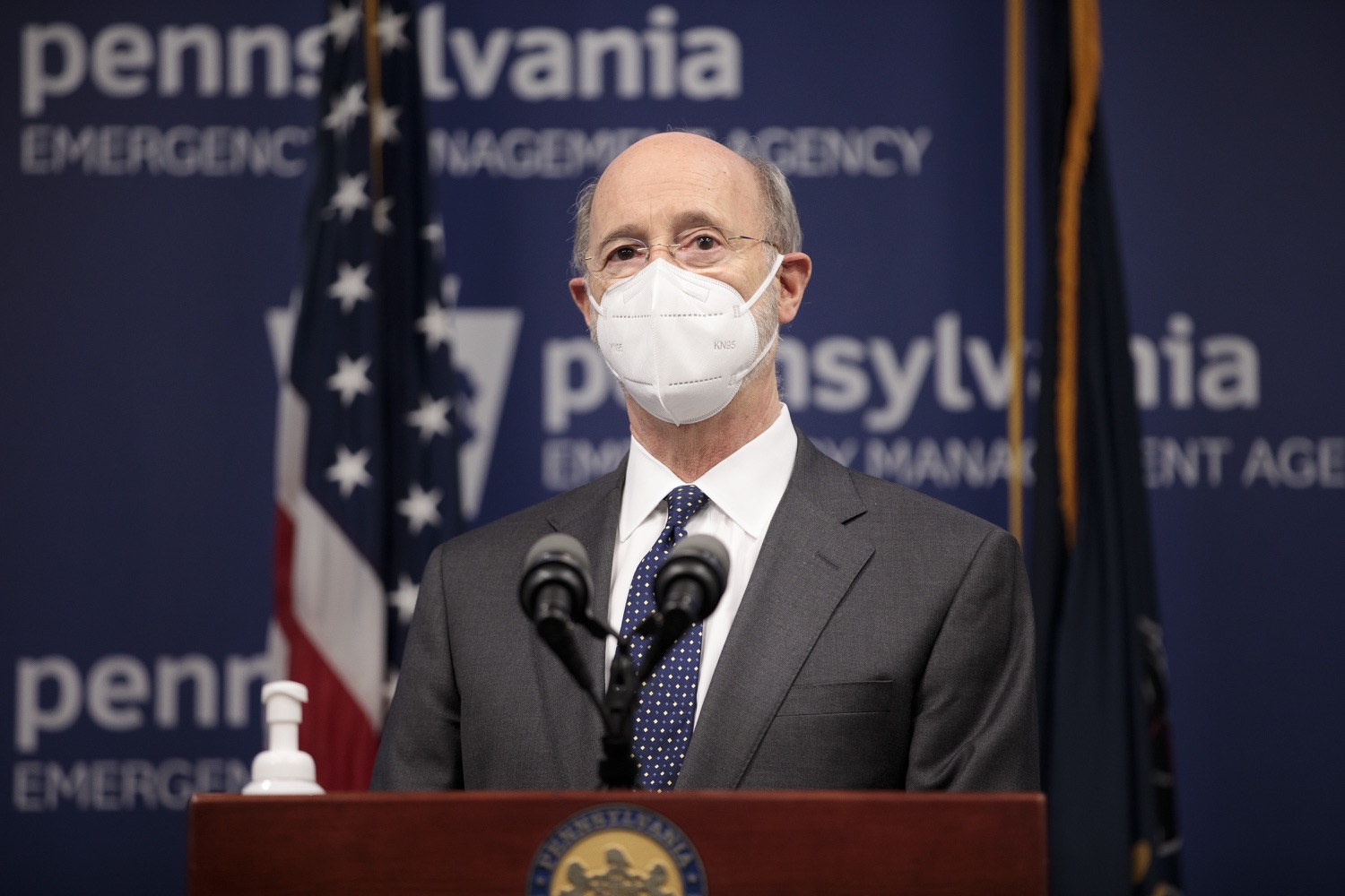"""<a href=""""https://filesource.wostreaming.net/commonwealthofpa/photo/18548_gov_vaccine_dz_02.jpg"""" target=""""_blank"""">⇣Download Photo<br></a>Pennsylvania Governor Tom Wolf speaking at the press conference.  Governor Tom Wolf today marked a milestone in the implementation of the states COVID-19 vaccination plan with the announcement that more than 600 skilled nursing facilities have received first and second doses of the vaccine, and in total more than 315,000 doses of vaccine administered among all long-term care facilities being vaccinated by CVS and Walgreens.  Harrisburg, PA - February 23, 2021"""