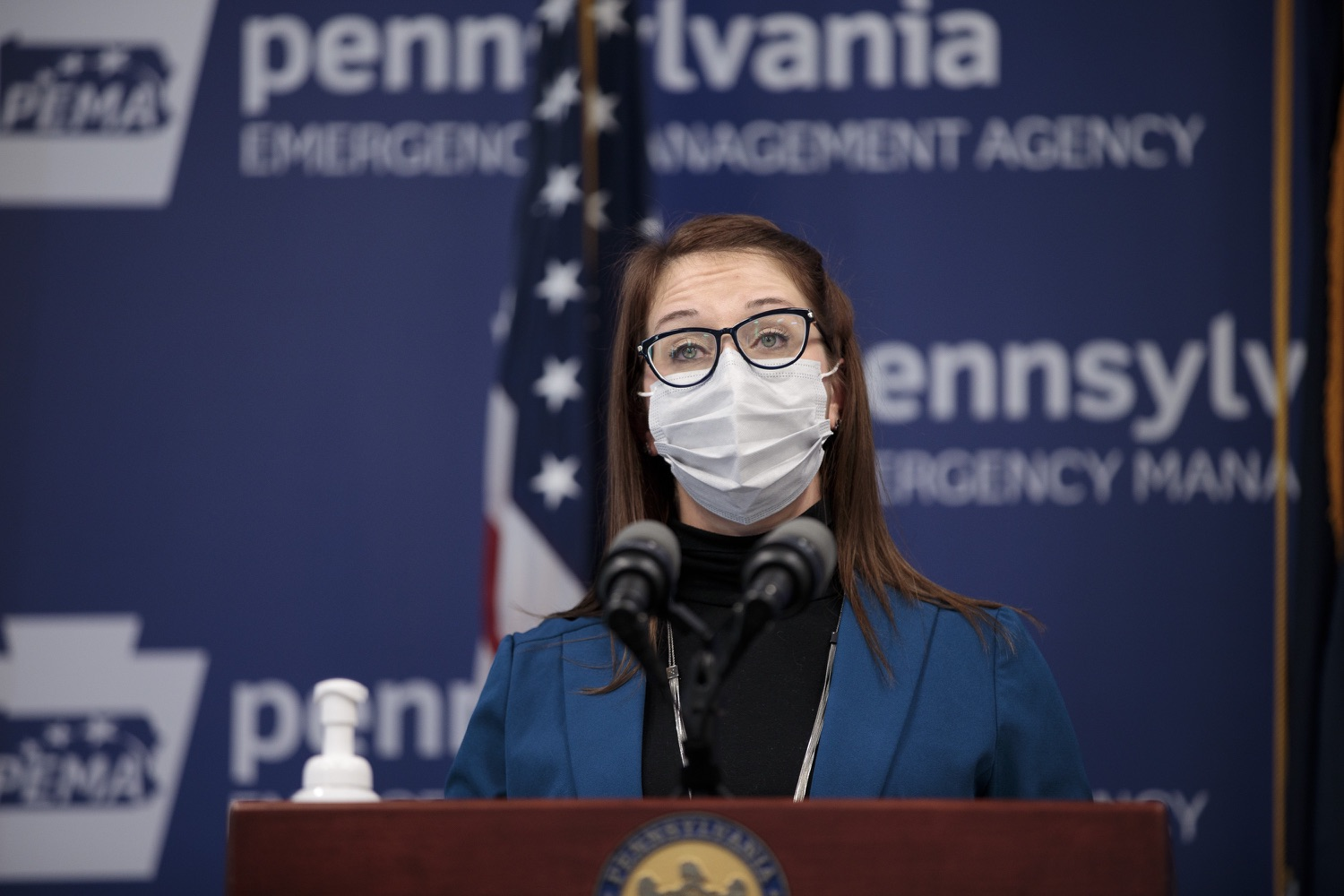 """<a href=""""https://filesource.wostreaming.net/commonwealthofpa/photo/18548_gov_vaccine_dz_04.jpg"""" target=""""_blank"""">⇣Download Photo<br></a>Sr. Advisor for COVID-19 Response Lindsey Mauldin speaking at the press conference.  Governor Tom Wolf today marked a milestone in the implementation of the states COVID-19 vaccination plan with the announcement that more than 600 skilled nursing facilities have received first and second doses of the vaccine, and in total more than 315,000 doses of vaccine administered among all long-term care facilities being vaccinated by CVS and Walgreens.  Harrisburg, PA - February 23, 2021"""
