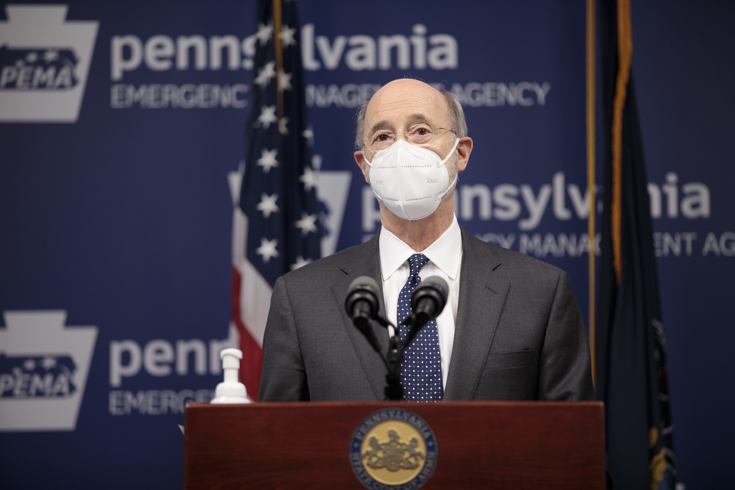 """<a href=""""https://filesource.wostreaming.net/commonwealthofpa/photo/18548_gov_vaccine_dz_05.jpg"""" target=""""_blank"""">⇣Download Photo<br></a>Pennsylvania Governor Tom Wolf speaking at the press conference.  Governor Tom Wolf today marked a milestone in the implementation of the states COVID-19 vaccination plan with the announcement that more than 600 skilled nursing facilities have received first and second doses of the vaccine, and in total more than 315,000 doses of vaccine administered among all long-term care facilities being vaccinated by CVS and Walgreens.  Harrisburg, PA - February 23, 2021"""