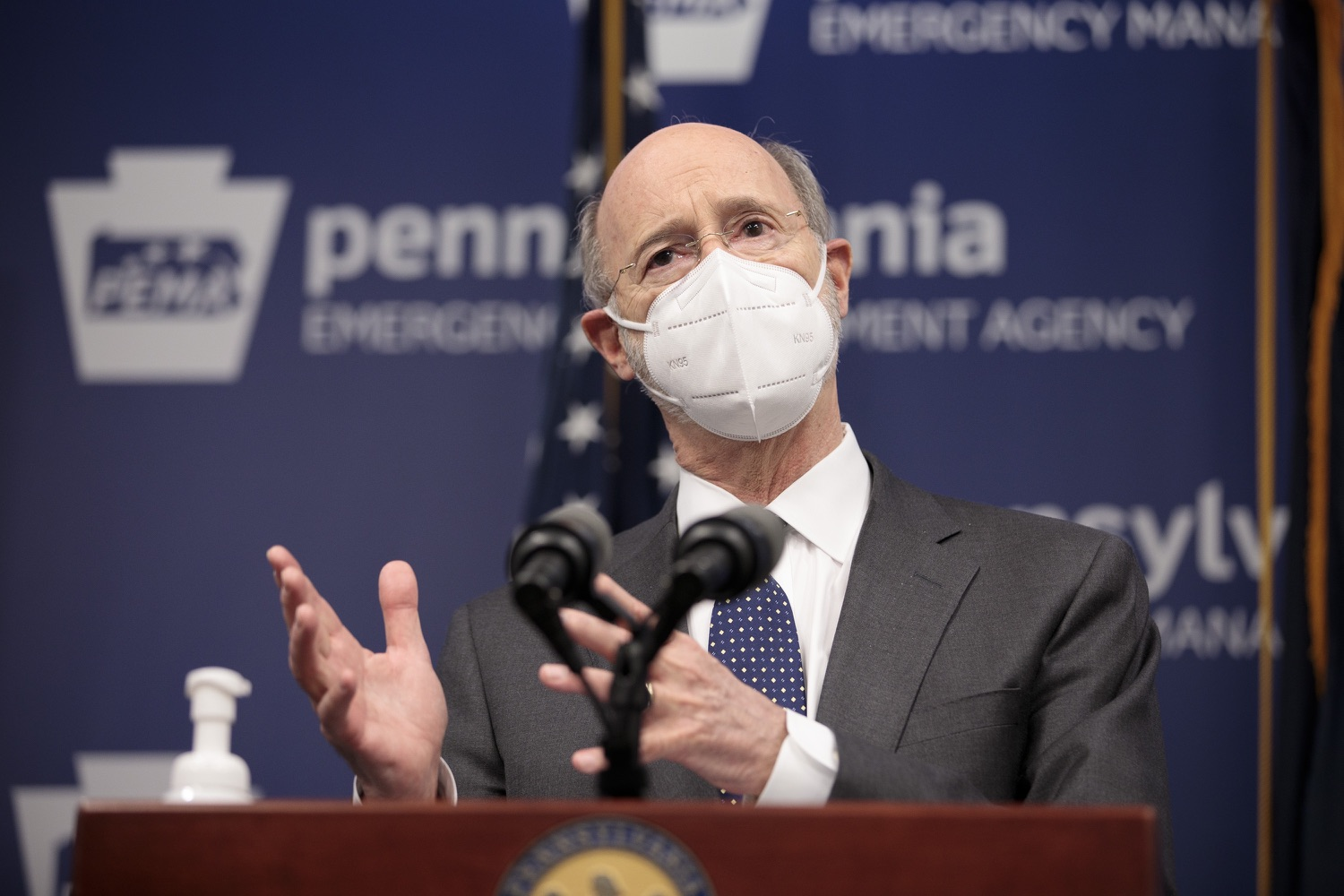 """<a href=""""https://filesource.wostreaming.net/commonwealthofpa/photo/18548_gov_vaccine_dz_06.jpg"""" target=""""_blank"""">⇣Download Photo<br></a>Pennsylvania Governor Tom Wolf speaking at the press conference.  Governor Tom Wolf today marked a milestone in the implementation of the states COVID-19 vaccination plan with the announcement that more than 600 skilled nursing facilities have received first and second doses of the vaccine, and in total more than 315,000 doses of vaccine administered among all long-term care facilities being vaccinated by CVS and Walgreens.  Harrisburg, PA - February 23, 2021"""