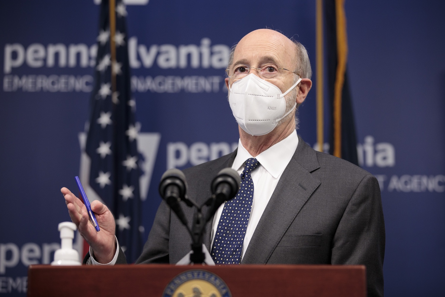 """<a href=""""https://filesource.wostreaming.net/commonwealthofpa/photo/18548_gov_vaccine_dz_07.jpg"""" target=""""_blank"""">⇣Download Photo<br></a>Pennsylvania Governor Tom Wolf speaking at the press conference.  Governor Tom Wolf today marked a milestone in the implementation of the states COVID-19 vaccination plan with the announcement that more than 600 skilled nursing facilities have received first and second doses of the vaccine, and in total more than 315,000 doses of vaccine administered among all long-term care facilities being vaccinated by CVS and Walgreens.  Harrisburg, PA - February 23, 2021"""