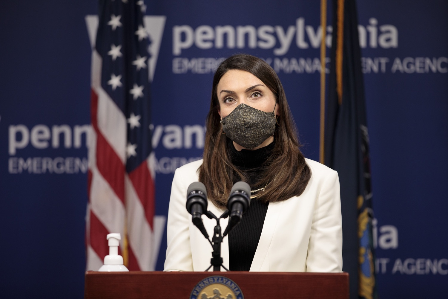 """<a href=""""https://filesource.wostreaming.net/commonwealthofpa/photo/18548_gov_vaccine_dz_14.jpg"""" target=""""_blank"""">⇣Download Photo<br></a>Acting Secretary of Health Alison Beam speaking at the press conference.  Governor Tom Wolf today marked a milestone in the implementation of the states COVID-19 vaccination plan with the announcement that more than 600 skilled nursing facilities have received first and second doses of the vaccine, and in total more than 315,000 doses of vaccine administered among all long-term care facilities being vaccinated by CVS and Walgreens.  Harrisburg, PA - February 23, 2021"""