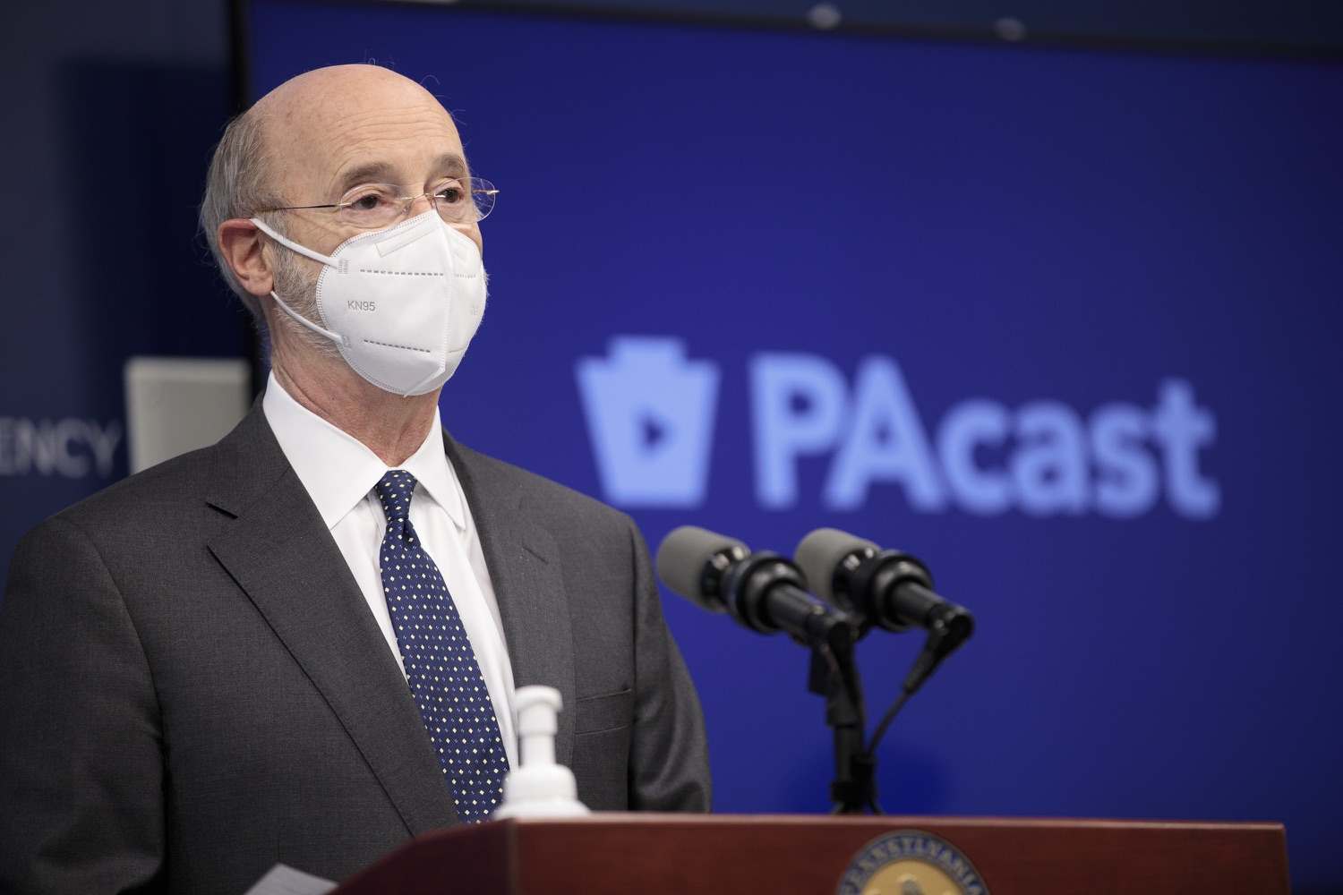 """<a href=""""https://filesource.wostreaming.net/commonwealthofpa/photo/18548_gov_vaccine_dz_16.jpg"""" target=""""_blank"""">⇣Download Photo<br></a>Pennsylvania Governor Tom Wolf speaking at the press conference.  Governor Tom Wolf today marked a milestone in the implementation of the states COVID-19 vaccination plan with the announcement that more than 600 skilled nursing facilities have received first and second doses of the vaccine, and in total more than 315,000 doses of vaccine administered among all long-term care facilities being vaccinated by CVS and Walgreens.  Harrisburg, PA - February 23, 2021"""