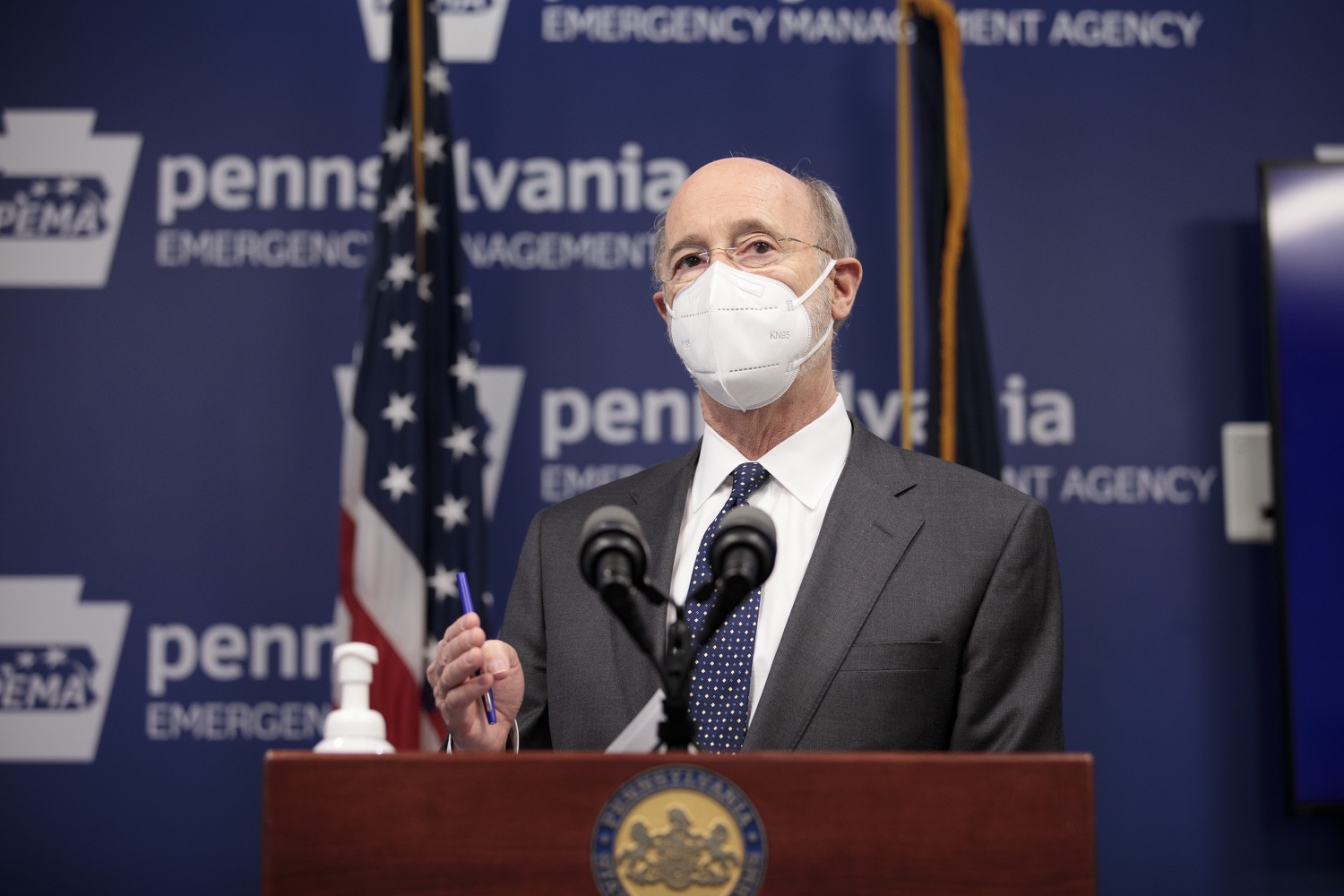 """<a href=""""https://filesource.wostreaming.net/commonwealthofpa/photo/18548_gov_vaccine_dz_18.jpg"""" target=""""_blank"""">⇣Download Photo<br></a>Pennsylvania Governor Tom Wolf speaking at the press conference.  Governor Tom Wolf today marked a milestone in the implementation of the states COVID-19 vaccination plan with the announcement that more than 600 skilled nursing facilities have received first and second doses of the vaccine, and in total more than 315,000 doses of vaccine administered among all long-term care facilities being vaccinated by CVS and Walgreens.  Harrisburg, PA - February 23, 2021"""