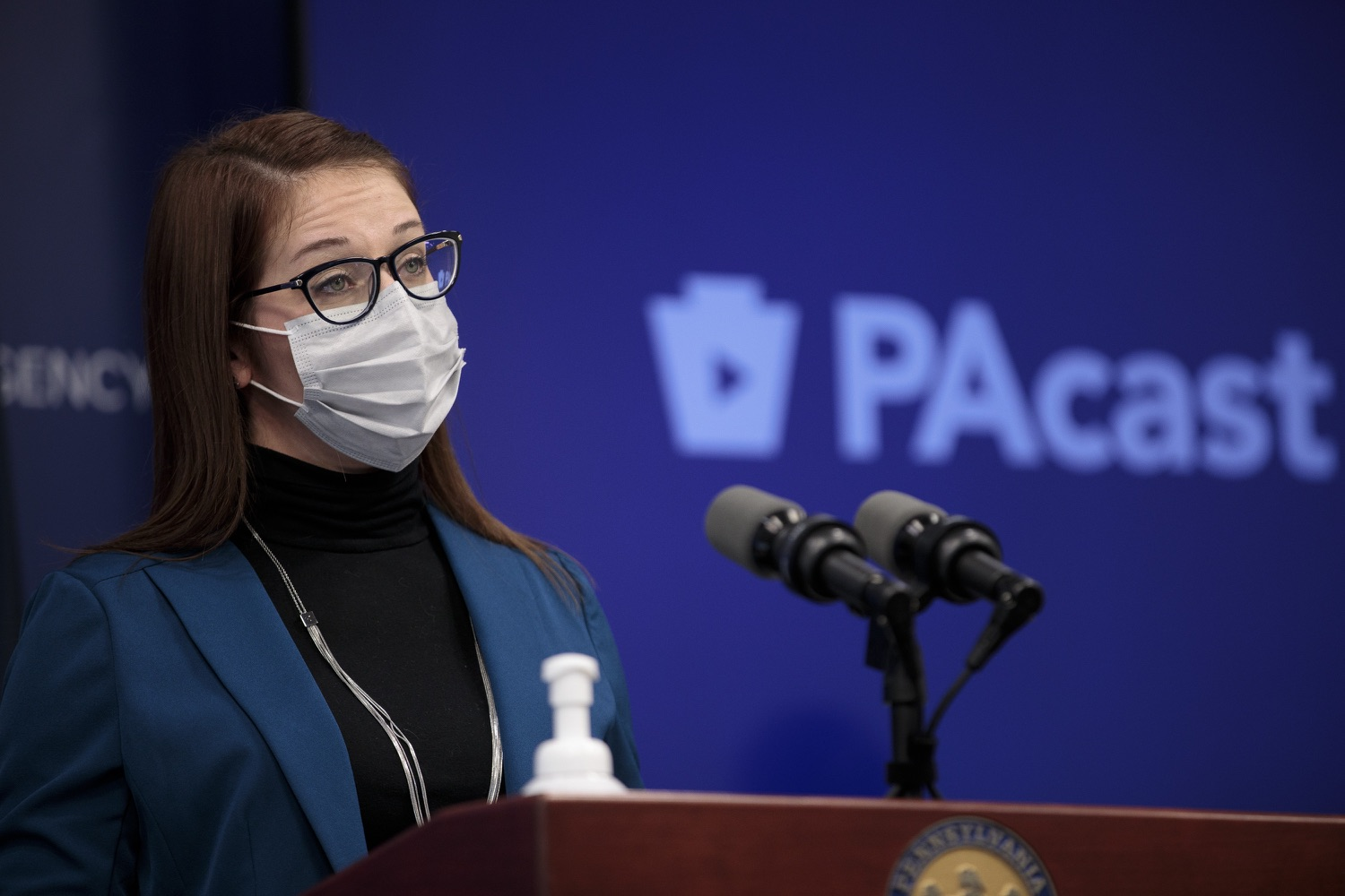 """<a href=""""https://filesource.wostreaming.net/commonwealthofpa/photo/18548_gov_vaccine_dz_20.jpg"""" target=""""_blank"""">⇣Download Photo<br></a>Sr. Advisor for COVID-19 Response Lindsey Mauldin speaking at the press conference.  Governor Tom Wolf today marked a milestone in the implementation of the states COVID-19 vaccination plan with the announcement that more than 600 skilled nursing facilities have received first and second doses of the vaccine, and in total more than 315,000 doses of vaccine administered among all long-term care facilities being vaccinated by CVS and Walgreens.  Harrisburg, PA - February 23, 2021"""