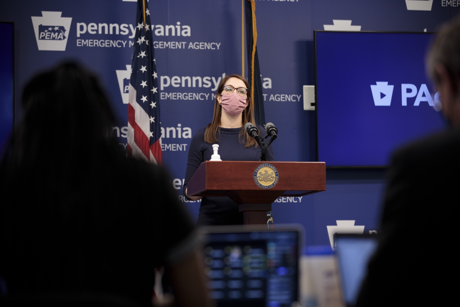 """<a href=""""https://filesource.wostreaming.net/commonwealthofpa/photo/18555_doh_vaccine_dz_13.jpg"""" target=""""_blank"""">⇣Download Photo<br></a>COVID-19 Response Lindsey Mauldin speaks at the press conference. The Pennsylvania Department of Health today confirmed as of 12:00 a.m., February 26, there were 3,346 additional positive cases of COVID-19, bringing the statewide total to 926,336.  Harrisburg, PA - February 26, 2021"""